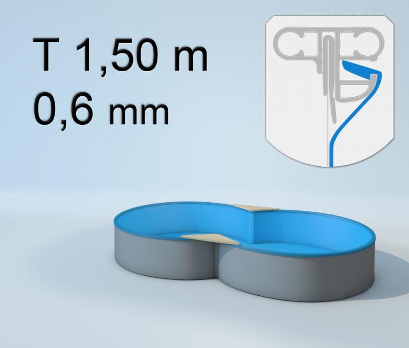 Schwimmbecken innenh lle achtform keilbiese 150 cm x 0 for Poolfolien hersteller