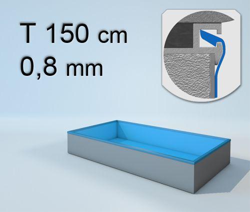 Schwimmbecken Ersatzfolie Rechteck   T 150cm   0,8 Mm Blau