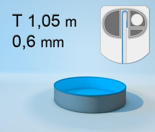 Schwimmbecken Innenhülle Rund   T 105 Cm   0,6 Mm Blau